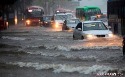 """Trung tâm Seoul """"ngập ủm"""" vì mưa lớn bất ngờ"""
