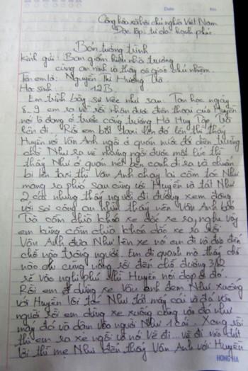 Bản tự kiểm điểm của Hương Trà viết gửi nhà trường