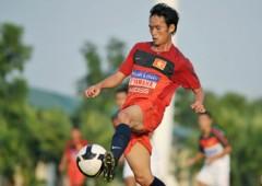 Tiền vệ Vũ Phong trong trận đấu tập với U23. Ảnh: Hoàng Hà.