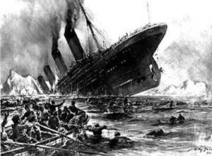 Cảnh tượng tàu Titanic đang chìm đắm do va phải băng ngày 14/4/1912 (Ảnh: titanic.wz.cz)