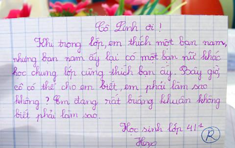 Một bức thư tư vấn của học sinh.