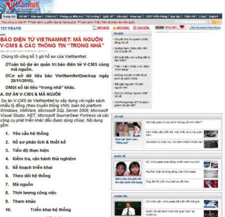 Vietnamnet tiếp tục bị hacker tấn công, biến dạng giao diện