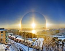 Ba mặt trời xuất hiện trên bầu trời Thụy Điển