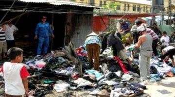 Cháy chuỗi kiot bán quần áo