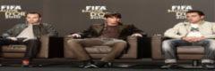 Iniesta và Xavi mừng cho Messi