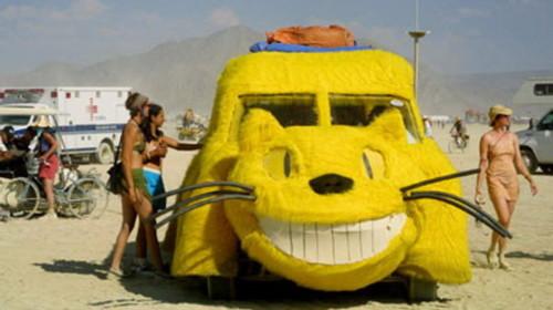 Một chiếc xe mang họ mèo đậu trên bãi biển