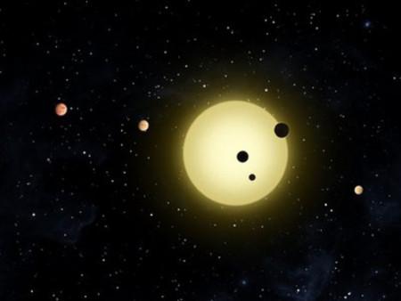 Hình minh họa 6 hành tinh xoay quanh một ngôi sao trong dải Ngân Hà