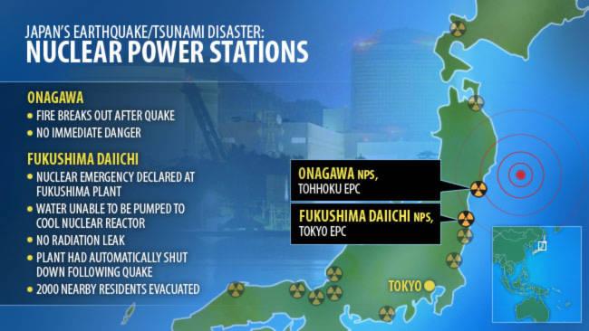 Các nhà máy điện hạt nhân của Nhật Bản gặp sự cố sau trận động đất mạnh 8,9 độ Richter ngày 11/3