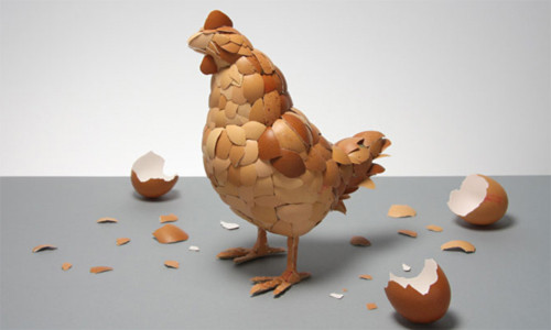 Chú gà làm bằng vỏ trứng