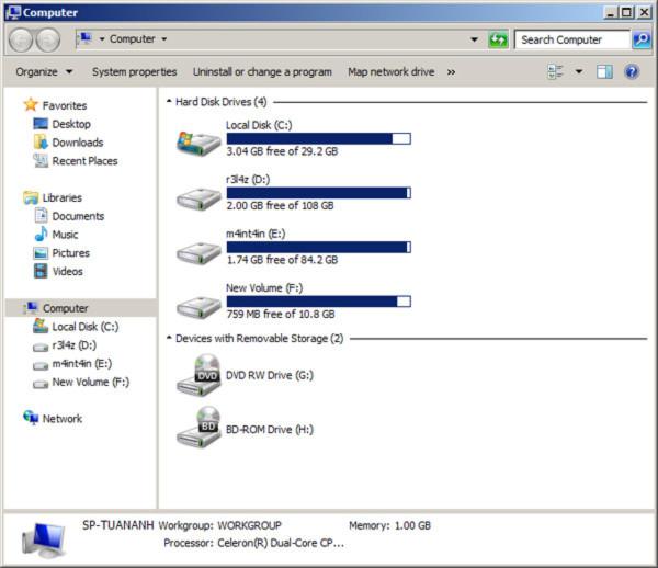Giấu các phân vùng ổ đĩa trong Windows