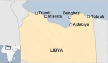 Các thàh phố quan trọng của Libya. Đồ hoạ: BBC