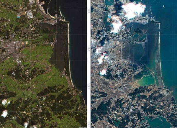 Đây là hình ảnh thành phố Torinoumi (Nhật Bản) được chụp trước và sau trận động đất mạnh 9 độ richter và sóng thần vào ngày 11/3 vừa qua. Những hình ảnh này được chụp bởi vệ tinh Optical RapidEye và TerraSAR-X của Đức.