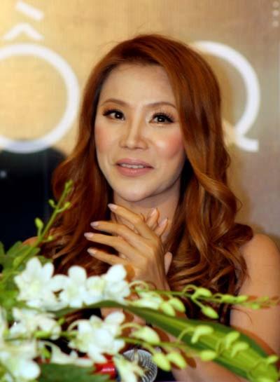 Ca sĩ Hồ Quỳnh Hương tại buổi họp báo giới thiệu chương trình liveshow. Ảnh: Việt Quốc