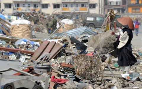 Cảnh hoang tàn ở khu vực gần nhà máy điện hạt nhân Fukushima I. Ảnh: AFP.