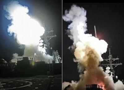 Tàu khu trục USS Barry (DDG 52) của Mỹ phóng tên lửa Tomahawk trong cuộc tấn công vào các mục tiêu phòng không của Libya ngày 19/3/2011