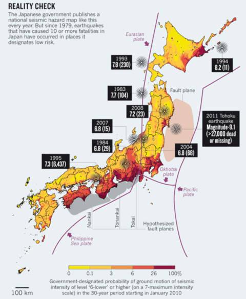 Bản đồ xác định nguy cơ địa chấn của Nhật Bản. Đồ họa: The Nature