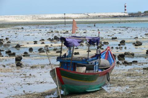 Một tàu đánh cá mắc cạn của ngư dân trên đảo Lý Sơn, Quảng Ngãi
