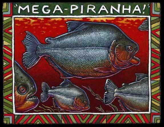Megapiranha  là tổ tiên của loài cá piranha hiện đại, dài khoảng 1m.