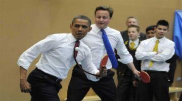 Obama chơi bóng bàn cùng Thủ tướng Anh