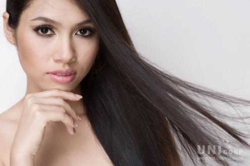 Làn da, mái tóc là những thế mạnh của Hoàng My.