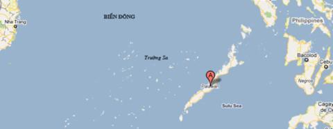 Điểm chấm đỏ là đảo Palawan của Philippines. Sơ đồ: Google Maps.
