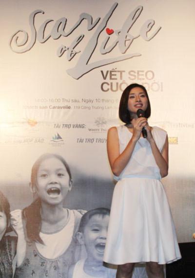 Ngô Thanh Vân tại buổi công bố dự án từ thiện 'Scar of life' vào chiều 10/6 ở TP HCM.