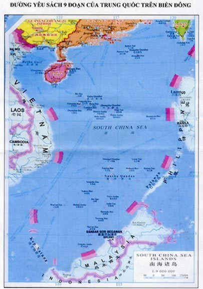Bản đồ đường yêu sách 9 đoạn (hay đường lưỡi bò) Trung Quốc gửi kèm công hàm lên Liên Hợp quốc năm 2009 phản đối báo cáo xác định ranh giới ngoài thềm lục địa của Việt Nam. Ảnh: T.L.