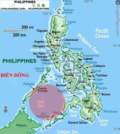 Biển Sulu (trong vòng tròn đỏ nhạt) là nơi hải quân Mỹ và Philippines tiến hành tập trận chung. Vùng biển này cách không xa quần đảo Trường Sa, thuộc tỉnh Khánh Hòa của Việt Nam. Ảnh: Thephilippinesisland