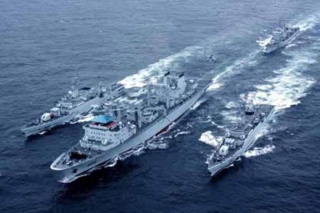 Tàu hải quân Trung Quốc trong một cuộc tập trận. Ảnh: Xinhua.