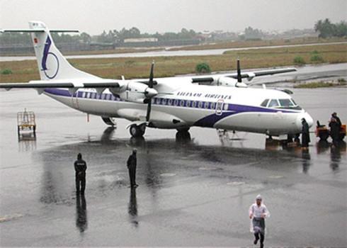 Một chiếc ATR của Vietnam Airlines tại sân bay Đà Nẵng.