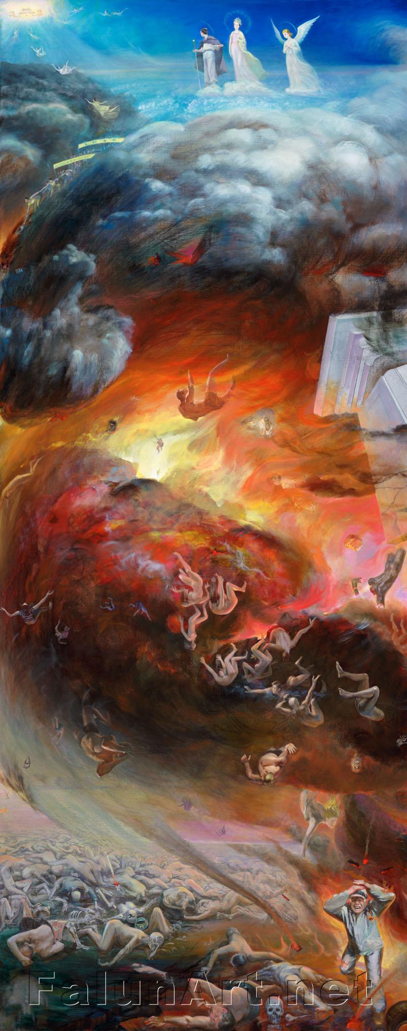 """Trong suốt chiều dài lịch sử, nhiều lần đạo đức của nhân loại đã trượt dốc đến một mức độ đáng sợ và lại phải đối mặt với thảm họa. Trận đại hồng thủy trong quá khứ hầu như đã quét sạch toàn bộ thế giới. Hai nghìn năm trước, đế chế La Mã đã bức hại tàn khốc các tín đồ Cơ Đốc, một chuỗi dịch bệnh đã lần lượt giết chết gần một nửa dân số. Thật đáng buồn thay, lịch sử dường như đang lặp lại. Ngày nay, giá trị đạo đức nhân loại lại một lần nữa trượt dốc đến một mức độ nguy hiểm.   Nhiều tôn giáo có nói rằng, trong """"Phán Xét Cuối Cùng"""", Thần sẽ lại xuất hiện để đưa người tốt lên thiên giới và đày kẻ xấu xuống địa ngục.   """"Thiện ác hữu báo"""" là phép tắc vĩnh hằng bất biến của vũ trụ.   Các nguyên lý phổ quát của Pháp Luân Công – """"Chân – Thiện – Nhẫn"""" – đã và đang mang lại hy vọng cho nhân loại. Nhưng, từ tháng 7/1999 ĐCSTQ đã phát động một cuộc bức hại tàn bạo đối với môn tu tập hòa bình này. Hưởng lợi từ việc cưỡng bức lao động và mổ cắp nội tạng của các học viên Pháp Luân Công đã đẩy con người xuống thấp hơn nữa trên nấc thang nhân tính. Dối trá và tuyên truyền vu khống đã gây hiểu lầm và kích động lòng thù hận của người dân đối với Pháp Luân Công. Bị dụ dỗ bởi những món lợi tài chính, các chính phủ, cộng đồng doanh nghiệp và các phương tiện truyền thông thế giới đã hầu như câm lặng trước thảm họa to lớn nhất lịch sử nhân loại này. Những tổ chức đó đã lộ rõ bản chất đạo đức giả, phản bội lương tâm, tự do tín ngưỡng và nhân quyền.   Sự câm lặng trước những tội ác chống lại loài người ấy đã buộc các học viên Pháp Luân Công phải tự nỗ lực giữa cuộc bức hại tàn khốc này, để thức tỉnh người dân thế giới và làm sáng tỏ chân tướng sự thật. Họ không ngừng nói lên sự thật, để mang lại cơ hội cho con người trên thế giới được lựa chọn giữa Thiện và Ác và từ đó xác định vị trí cho mình.   Hình chữ S cấu thành trong bức tranh đã nối liền 2 đối cực – những người tốt bay lên các Thiên đàng, còn kẻ xấu phải đối diện với sự hủy diệt. Đó là sự lựa chọn của bản thân mỗi con người.   Người """