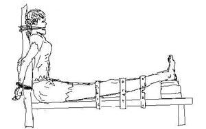 Trong hình này, công an trói chân của các đệ tử thật chặt vào ghế cọp bằng những giây nịt. Xong chúng đặt gạch, đá dưới bàn chân. Chúng tiếp tục đặt gạch đá cho đến khi các giây nịt bị đứt. Cách này rất đau đớn, và thường các đệ tử bị ngất xỉu trong khi bị tra tấn.  Trong khi dùng ghế cọp, chúng còn dùng những phương pháp khác như: giật điện bằng ba tông điện, hay còng tréo hai tay ra phía sau, đốt tay chân, mặt mũi bằng thuốc lá, đóng lạt tre vào đầu ngón tay, dùng viết đâm vào xương sống, dùng đinh đâm vào xương má, tát vào mặt, đấm và mặt, và trói chặt vào miệng bằng giây thừng không cho các đệ tử ngậm miệng lại, thường thường miệng họ bị rách lở sau khi bị tra tấn kiểu này.