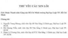 Thư yêu cầu xin lỗi của nhóm ba sinh viên trường Đại học Luật Thành phố Hồ Chí Minh