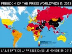 Bản đồ thế giới về quyền tự do báo chí 2013 (trắng: tốt nhất; đen: tồi tệ nhất) RSF