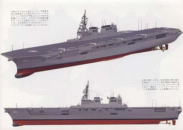 Theo thiết kế tàu chở trực thăng 22DDH được phục vụ cho mục đích chủ yếu là chống tàu ngầm và đối phó thảm họa thiên nhiên khi cần. Nhưng Bắc Kinh tin rằng đây là một tàu sân bay của người Nhật, bởi 22DDH có lượng giãn nước lên tới 27.000-28.000 tấn (toàn tải), chiều dài tổng thể 248m, rộng 38m, mớn nước 7m. Với kích cỡ này, 22DDH có chiều dài vượt cả tàu sân bay hạng nhẹ mới nhất Cavour của Italia (dài 244m), lượng giãn nước tương đương.