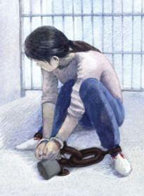 坐水盆扣地环:犯人掐被扣者腋窝、乳房、大腿等