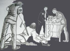 中共酷刑示意图:铐地环并电击