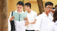 Một học sinh nam căng thẳng xem lại tài liệu ôn tập môn văn - Ảnh: Nguyễn Khánh