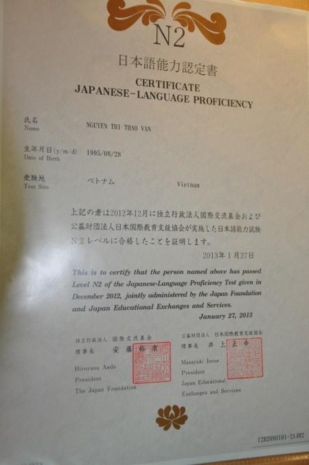 Bằng chứng nhận nặng lực tiếng Nhật cấp độ N2 mà Thảo Vân đã đạt được