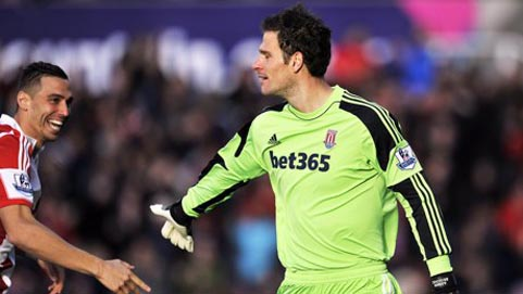 Stoke City's Asmir Begovic, right, scored against Southampton in the Premier League at the Britannia
