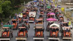 Hàng ngàn máy cày và nông dân đã lên đường tới Bangkok để biểu tình - Ảnh: Reuters