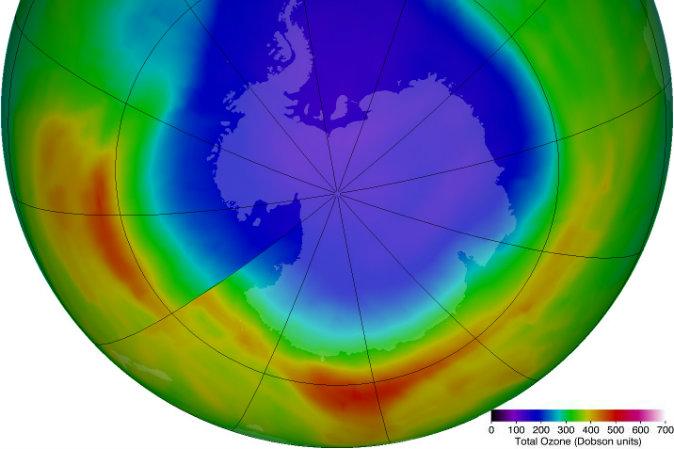 Hình mô tả về một lỗ hổng tầng Ozone lớn trên Nam cực vào tháng Chín, 2012 (NASA)
