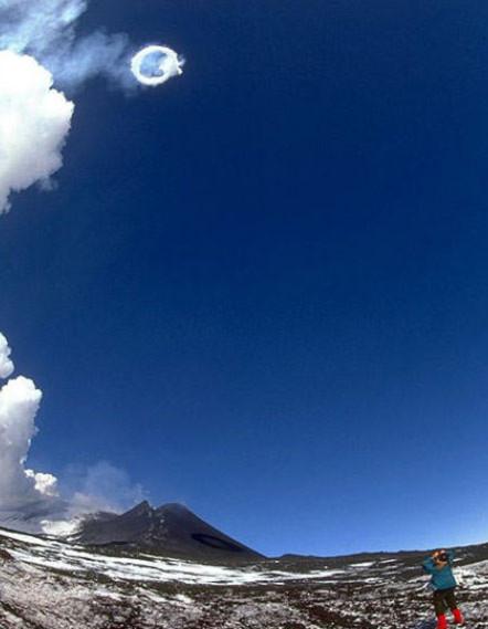 Núi lửa cao nhất châu Âu phun khói tròn