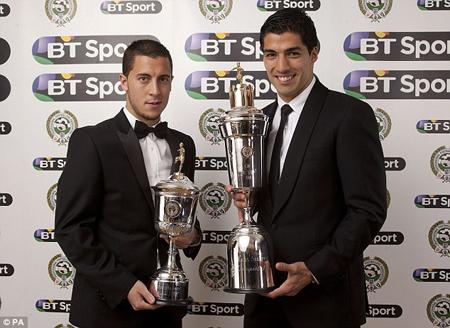 Luis Suarez và Eden Hazard được vinh danh