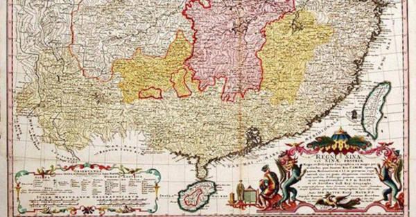 Tấm bản đồ Trung Quốc cổ, của nhà bản đồ học người Pháp Jean-Baptiste Bourguignon d'Anville vẽ, được một nhà xuất bản Đức in năm 1735 - Ảnh: FP