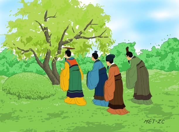 Một năm qua đi, vua và quần thần đến viếng mộ Giới Tử Thôi. Ngạc nhiên thay, họ phát hiện ra rằng cây liễu lớn ngày nào nay đầy sức sống và mọc nhiều cành mới với lá xanh mơn mởn. Nó như thể là chính Giới Tử Thôi đang chào đón họ và khích lệ nhà vua giữ vững sự anh minh và sáng suốt của mình… (Bút họa: Zhiching Chen/Đại Kỷ Nguyên)