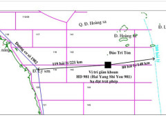 Bản đồ minh họa vị trí giàn khoan HD981 của Trung Quốc hạ đặt trái phép trong  vùng đặc quyền kinh tế, thềm lục địa Việt Nam - Nguồn: Tập đoàn Dầu khí Việt Nam