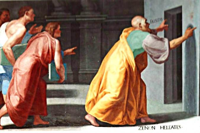 Triết học gia Hy Lạp cổ Đại Zeno xứ Elea chỉ cho các bạn trẻ những cánh cửa sẽ dẫn đến Sự thật và Giả dối (Veritas et Falsitas). Tranh vẽ theo phong cách Fresco trong thư viện El Escorial, thủ đô Madrid, Tây Ban Nha (Wikimedia Commons)