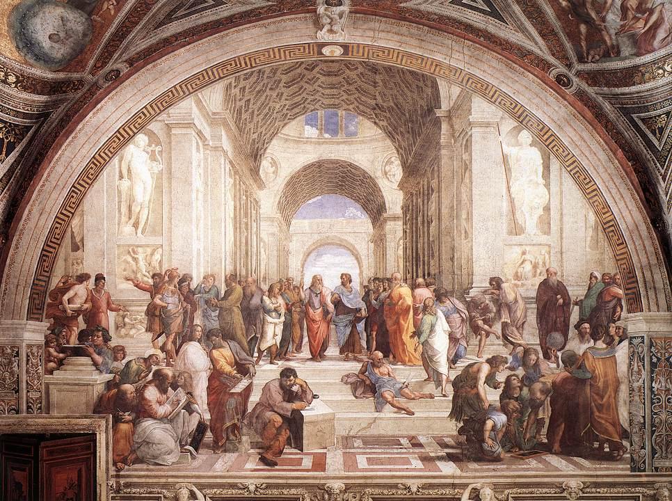 """The School of Athens."" Fresco, 1509. Stanza della Segnatura, Palazzi Pontifici (Vatican, Holy See (Vatican City State) (Tất cả ảnh được cung cấp bởi Art Renewal Center)"