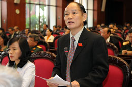 Trưởng Đoàn đại biểu Quốc hội TP Đà Nẵng Huỳnh Nghĩa phát biểu tại một kỳ họp Quốc hội
